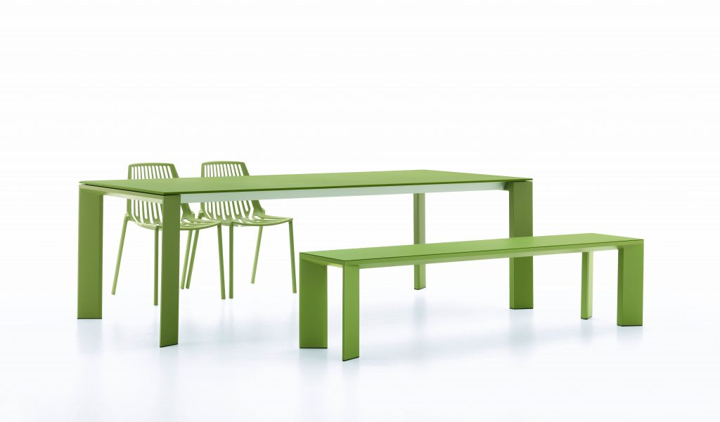 Grande Arche Extentible Table 220_270_320x100x74_ Bench_ Rion Chair
